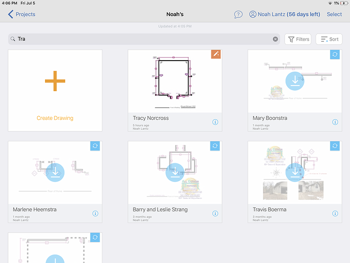 Instant access to all of your projects and drawings via ArcSite's cloud storage